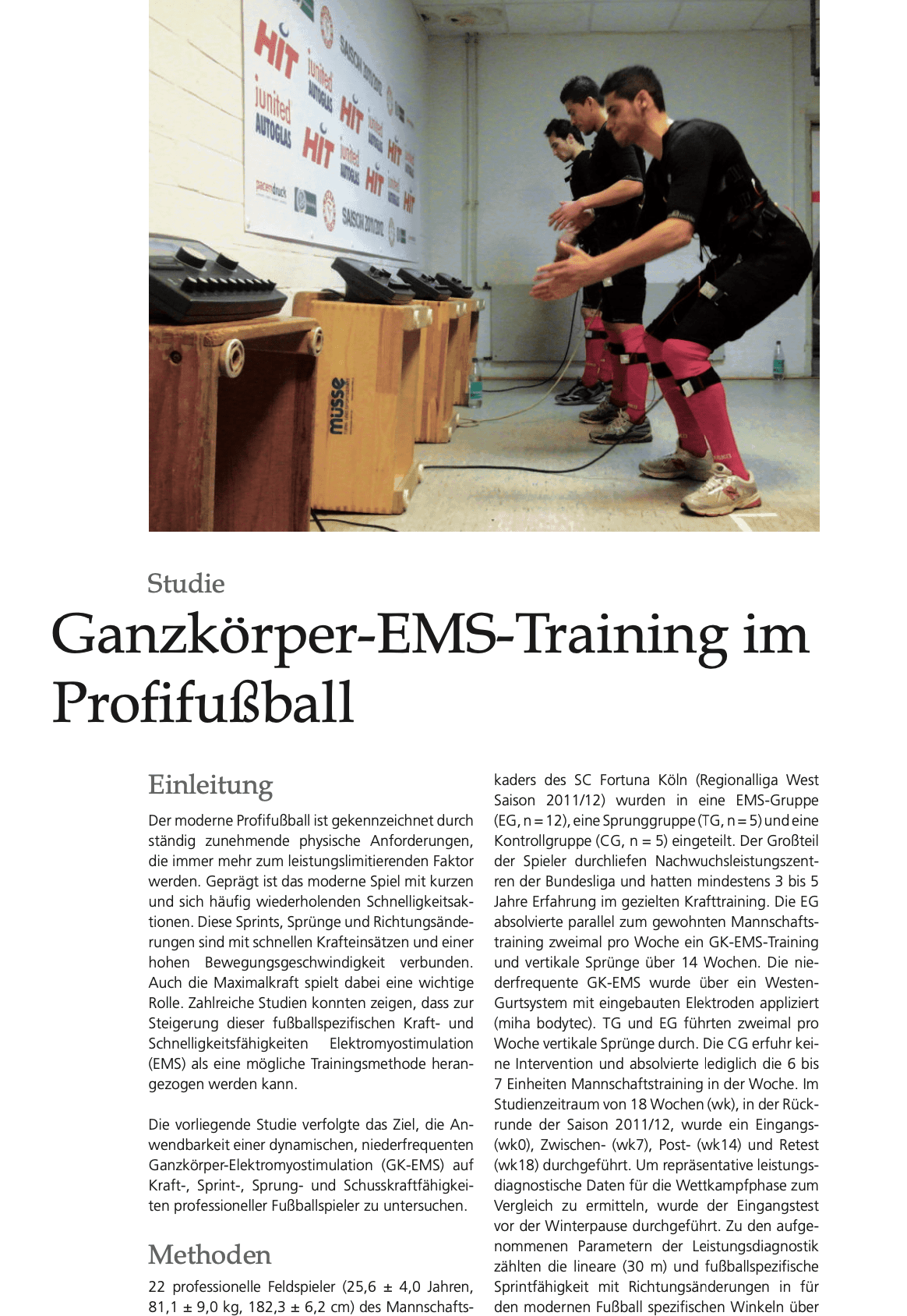 Ems Fussball Training Studie Justfit Club Hamburg Profifussball personal Trainer hamburg